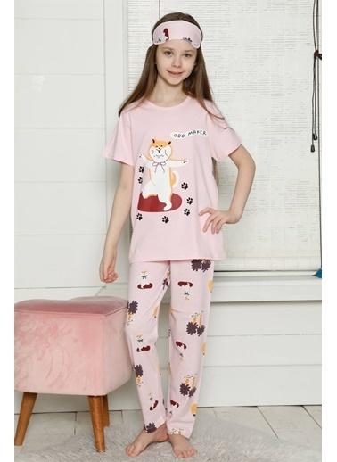 Akbeniz Çocuk Pamuk Kısa Kollu Pijama Takımı 4564 Pembe